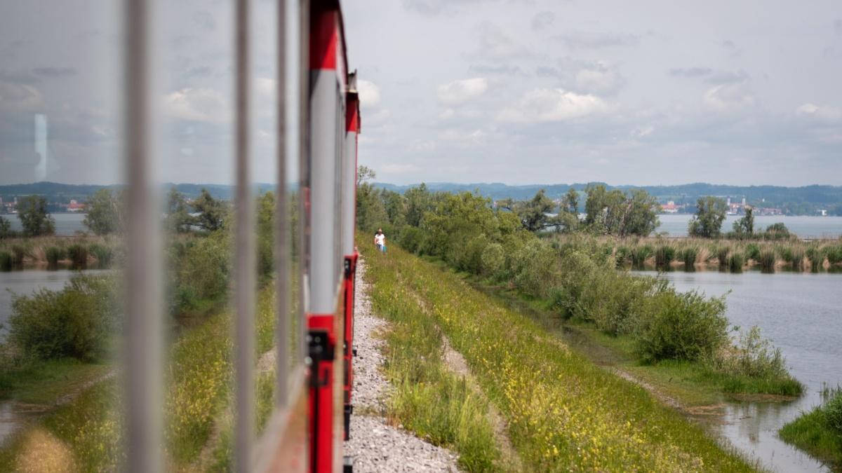 Train ride along Bodensee, Rhine delta