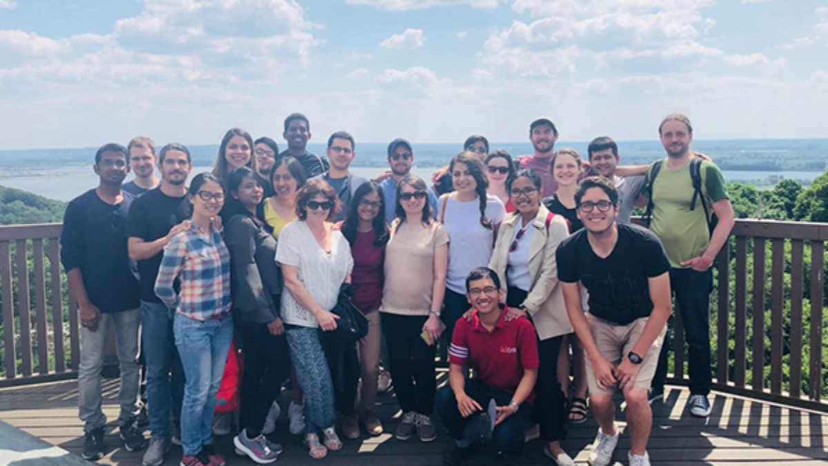 WAREM Excursion 2018, Hydropower Plant Braunsberg, Hamburg Group of students on a tower at the Hydropower Plant Braunsberg near Hamburg (c)